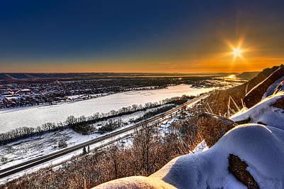 Mississippi River Sunrise Poster by Tom Gort