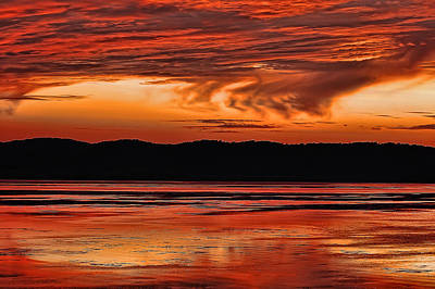Poster featuring the photograph Mississippi River Sunset by Don Schwartz