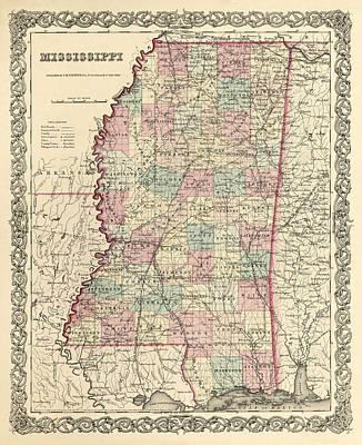 Mississippi Vintage Antique Map Poster