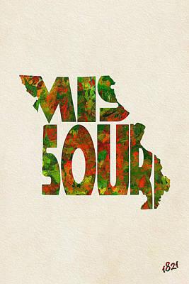 Missouri Typographic Watercolor Map Poster