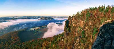 Mist Flow Around The Fortress Koenigstein Poster