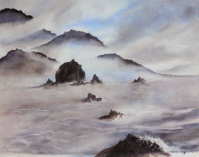 Mists Of Haystack Rock Poster