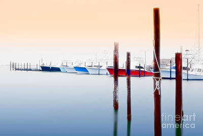 Misty Boats On The Outer Banks I Poster by Dan Carmichael
