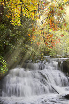 Misty Falls At Coker Creek Poster by Debra and Dave Vanderlaan