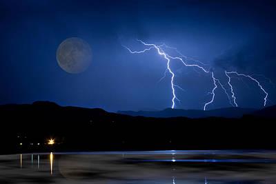 Misty Lake Full Moon Lightning Storm Fine Art Photo Poster