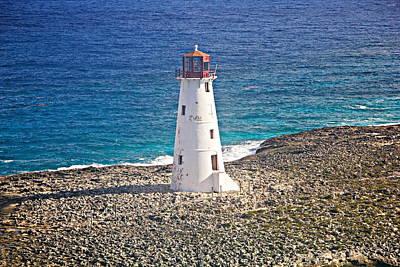Misty Morning At Hog Island Lighthouse On Paradise Island Baham Poster