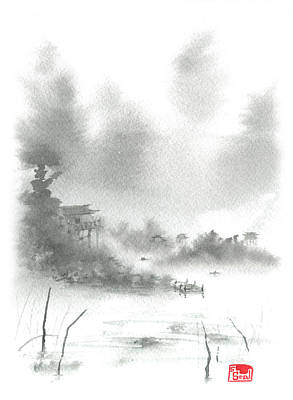 Poster featuring the painting Misty Morning Fishing Village by Sean Seal