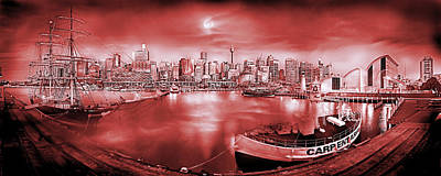 Misty Morning Harbour - Red Poster