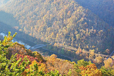 Misty Morning View Of The New River Gorge Old County Road 82 Bri Poster