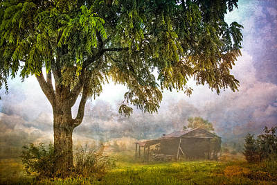 Misty Mountain Barn Poster by Debra and Dave Vanderlaan