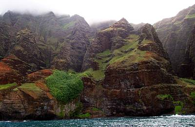 Misty Na Pali Coastline Poster by Amy McDaniel