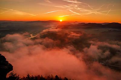 Misty Sunrise On The Lilienstein Poster