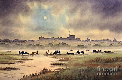 Misty Sunrise - Windsor Meadows Poster by Bill Holkham