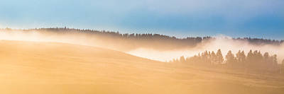 Poster featuring the photograph Misty Yellowstone   by Lars Lentz
