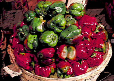 Mixed Green And Red Peppers In A Farm Basket Poster by Elaine Plesser