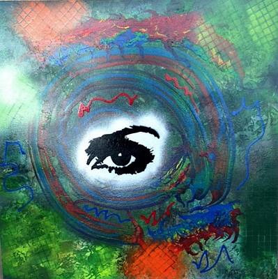 Mixed Media Abstract Post Modern Art By Alfredo Garcia Eye See You Poster