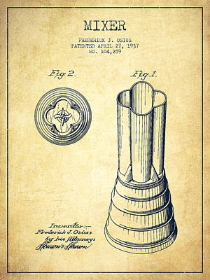 Mixer Patent From 1937 - Vintage Poster by Aged Pixel