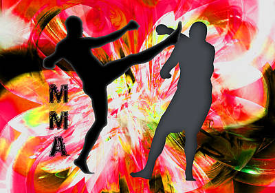 Mma Silhouettes In Red Explosion Poster by Elaine Plesser