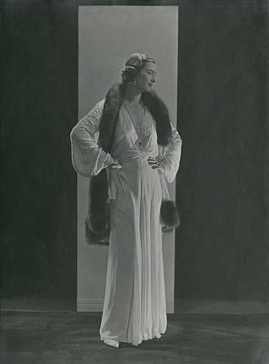 Mme. Simon Rolo In A Gown And Sable-trimmed Poster