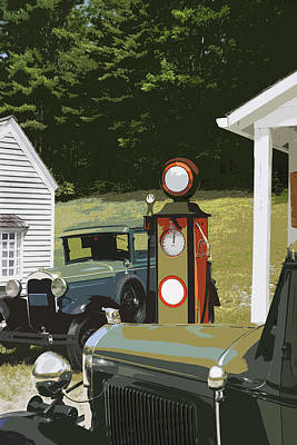 Model A Ford And Old Gas Station Illustration  Poster by Keith Webber Jr