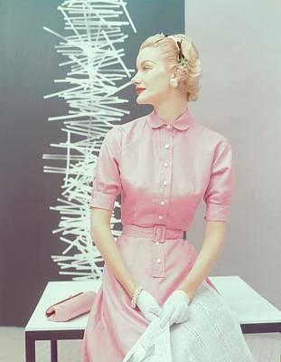 Model In A Pink Silk Shantung Dress Poster