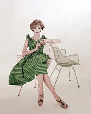 Model In A Striped Dress By Rhea Poster