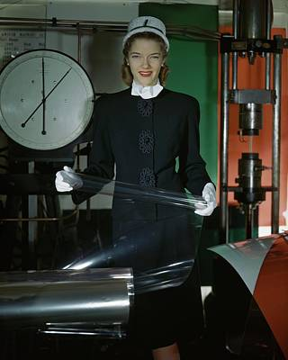 Model In A Wool Suit In Celanese Plastics Poster