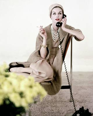 Model In Ben Zuckerman Talking On A Telephone Poster