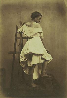 Model In White Dress With Easel Franck Chavassaigne Poster