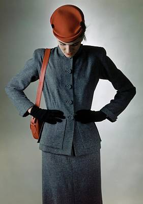 Model In Wool Suit By Tony Guild And Hat Poster