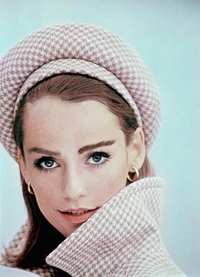 Model Wearing A Beret And Matching Coat Poster