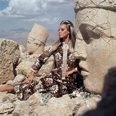 Model Wearing A Brown And White Persian Print Poster