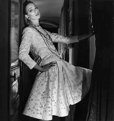 Model Wearing A Chanel Jacket Dress Poster
