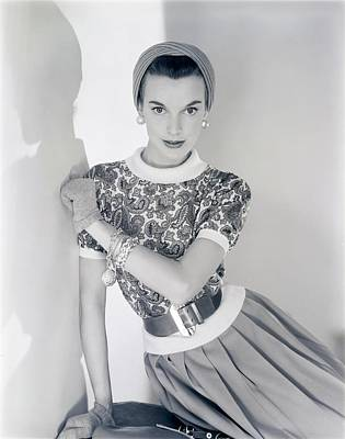Model Wearing A Greta Plattry Sweater And Skirt Poster