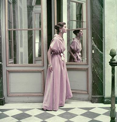Model Wearing A Pink Gown By Balenciaga Poster