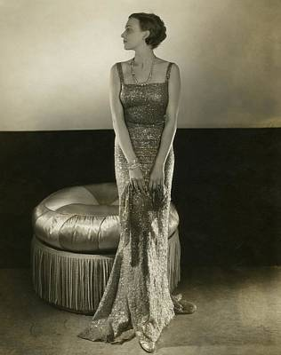 Model Wearing A Sequin Gown Poster