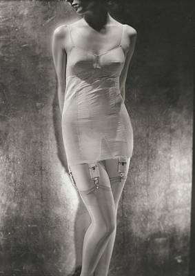 Model Wearing A Silk Corset Poster