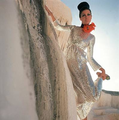 Model Wearing A Silver Sequined Dress By Anne Poster