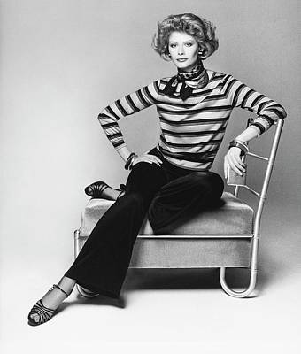 Model Wearing A Striped Blouse Poster