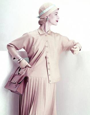 Model Wearing A Suit And Cloche Hat Poster