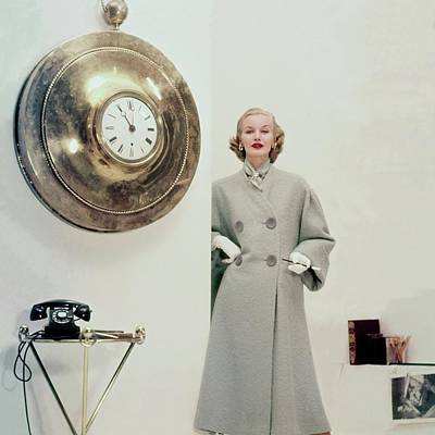 Model Wearing A Tweed Coat Poster