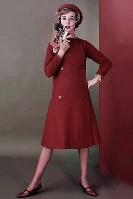 Model Wearing A Wool Dress By Mr. Mort Sportswear Poster