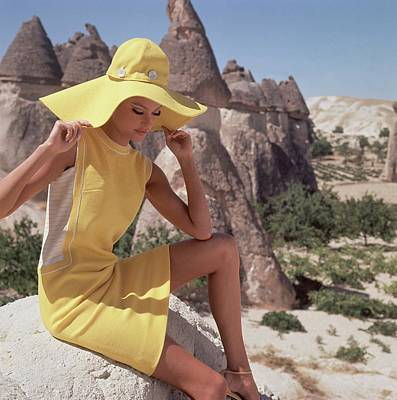 Model Wearing A Yellow Dress By Leslie Fay Poster