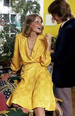 Model Wearing A Yellow Dress Poster