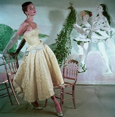 Model Wearing A Yellow Lace Strapless Evening Poster
