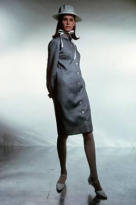 Model Wearing An Anne Fogarty Dress Poster by Francesco Scavullo