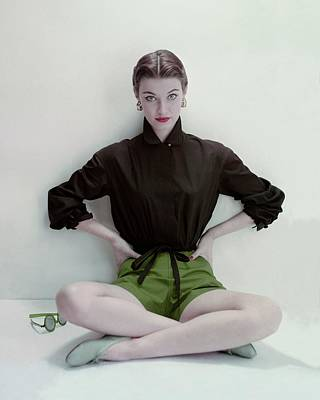 Model Wearing Black Blouse And Green Shorts Poster