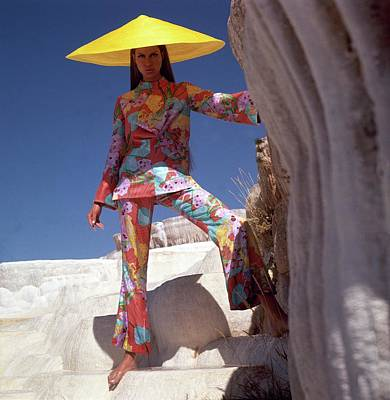 Model Wearing Floral Pants And Top By Bill Blass Poster