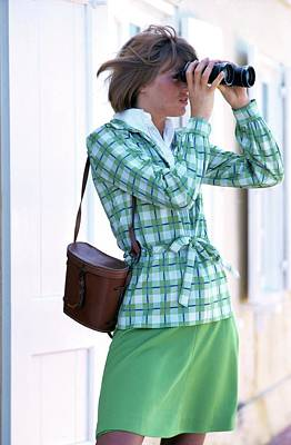 Model Wearing Plaid Jacket Holding Binoculars Poster by William Connors