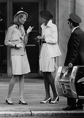 Models Talking On A Sidewalk In New York City Poster